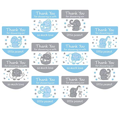 120 Hand Sanitizer Labels Thank You Stickers Boy Baby Shower Favor Labels (Blue)