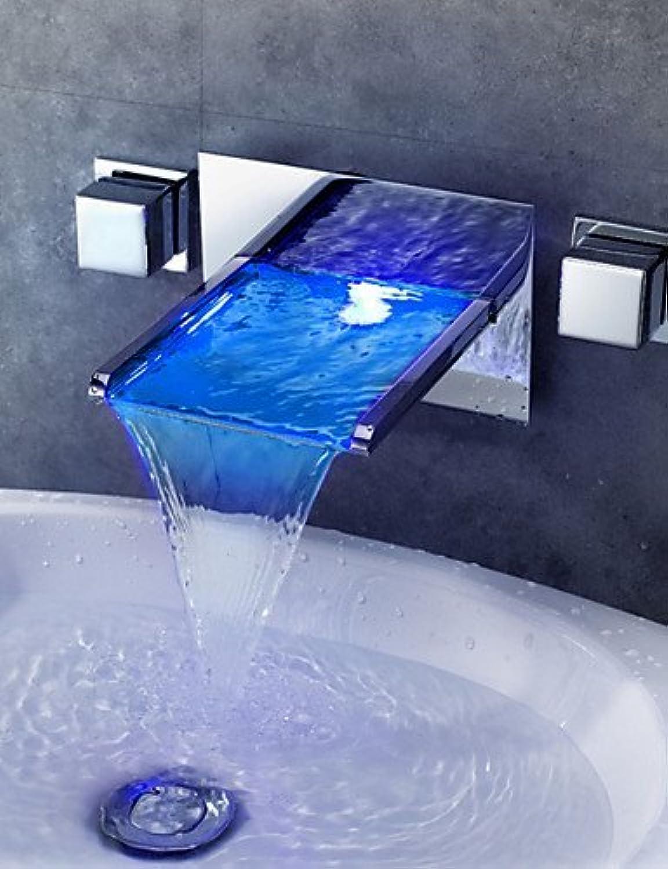 MONFS Home Zeitgenssische Wandmontierte Chrom Messing Personalisierte Zwei Griffe DREI Lcher LED Waschbecken Wasserhahn - Silber