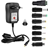 EFISH Adaptador Multifuncional Universal DC Power Supply,Adaptador de CA 100-240V a 3V/4.5V/5V/6V/7.5V/9V/12V- MAX 2A(2000mA) Adaptador de Viaje,CE Aprueba+8 Enchufes Diferentes(Micro USB Incluido)