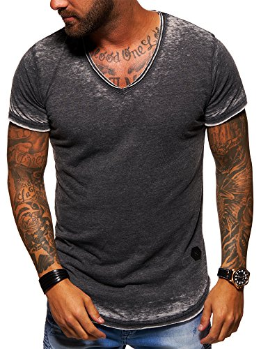behype. Herren Oversize Kurzarm T-Shirt V-Neck Vintage Shirt 20-1760 Schwarz S