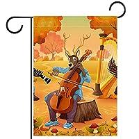 ガーデンフラッグ両面印刷防水秋の森の動物の音楽パーティー 庭、庭の屋外装飾用