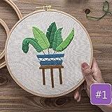 Kit de bordado de bricolaje Plantas impresas Flor con aros Punto de cruz Costura Set Artesanía Artesanía Artesanía Costura Pintura Regalo, 9, con aro de plástico