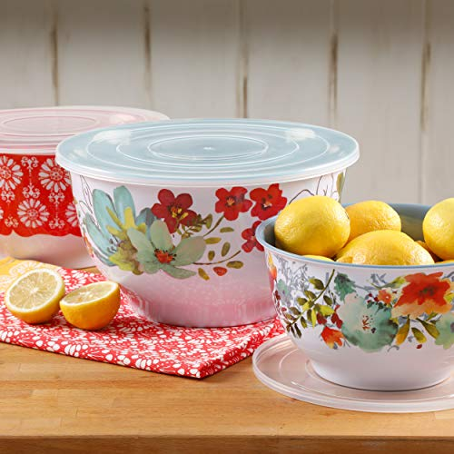 The Pioneer Woman Melamine Mixing Bowls with Lids (Set of 3 Bowls with 3 Lids) (Alex Marie)
