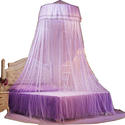 RuiHome Hanging Mosquito Net Canopy with Decorative Butterfly fits Crib Twin Double Full Queen Bedroom Decor, Purple