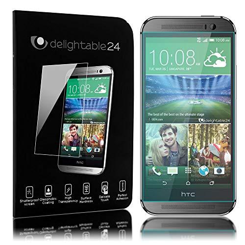 NALIA Schutzglas kompatibel mit HTC One M8, Full-Cover Bildschirmschutz Handy-Folie, 9H Festigkeit Glas-Schutzfolie Display-Abdeckung, Schutz-Film Phone HD Screen Protector Tempered Glass - Transparent