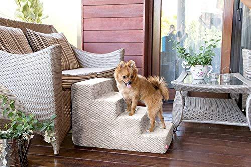 BoutiqueZOO Hundetreppe 40 cm hoch | Katzentreppe Haustiertreppe | 4 Stufen | Hunde Katzen Haustier | für Bett und Auto | Trepp für kleine Hund | Plüschbezug | Farbe: Dunkelbeige