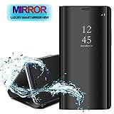 WINMI per iPhone 12 Mini 5.4' Cover,[Supporto] Protettivo 360°Smart Electroplate Mirror Case Clear View Flip Cover Custodia per iPhone 12 Mini 5.4' Smartphone-Nero