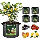 T4U 5 Stück 37L Pflanzsäcke aus Vliesstoff, 10 Gallonen Ф39cm Pflanztasche Pflanzgefäß mit Tragegriffe, Wiederverwendbar Pflanzbehälter Garten Wachsende Tasche für Kartoffeln Tomaten, Blumen