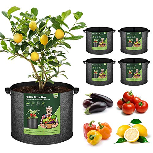 Heavy Duty Thickened Non-woven Aerated Reusable Fabric Growing Containers with Handles Easy to Move in Patio and Garden for Vegetables Fruits and Flowers X Home 24 Pack 1 Gallon Grow bags