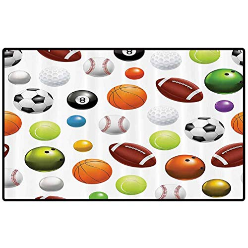 RenteriaDecor Sports Decor Collection Throw Door Mat Different Type of Balls Various Sports Professional Hobbies Leisure Fun Image Non-Slip Floor Mat for Entry Patio