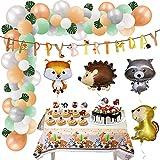 Animales del bosque, decoración de cumpleaños, globos de animales del bosque, para niños, erizo, ardilla, helio, globo de animales para el salvaje, decoración de cumpleaños