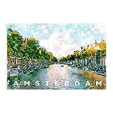 Vintage Amsterdam Urban Roma City Skyline Travel Rotterdam Paris London Skyline I Póster de lona para decoración de dormitorio, arte pop para oficina, habitación, decoración de regalo, 30 x 45 cm