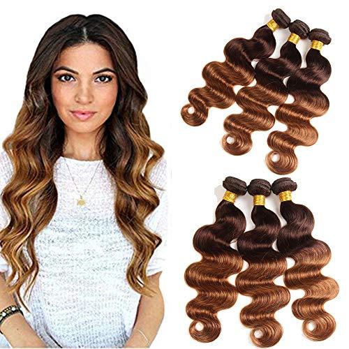 ELEE'S HAIR Ombre Bundles de cheveux humains Ombre Body Wave 3 Bundles Ombres Bundles de cheveux humains Brésiliens Remy Cheveux Vague de Corps Double Trame Cheveux T4/30 (18 20 22)