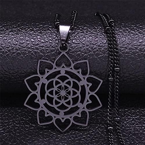 DOOLY Collar de Cadena de Acero Inoxidable con Flor de la Vida, Collar de Color Plateado para Mujer, Joyas de Acero Inoxidable para Mujer