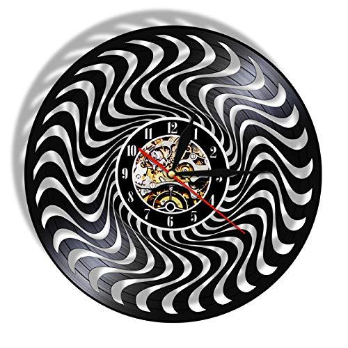 YINU Schwarz-Weiß-Vinyl-Longplay-Schallplattenwanduhr 3D Twisted Circle Hanging Watch Silent Quartz Optische Täuschung Uhrenuhr