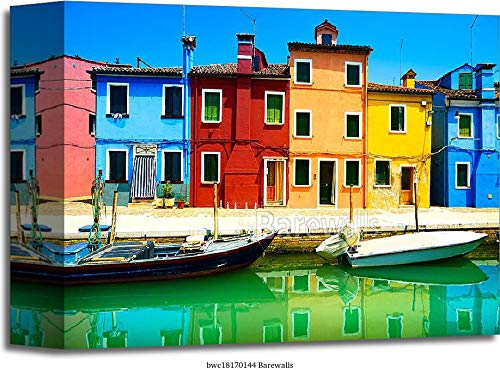 Venice Landmark, Burano Island Canal, Colorful Houses and Boats, Italy. Long Exposure Photography Gallery Wrapped Canvas Art (8in. x 10in.)