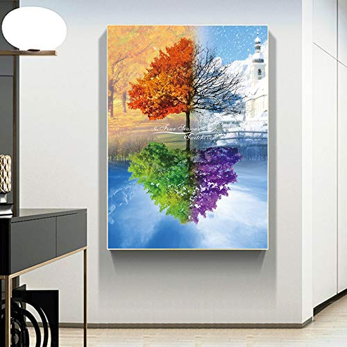 5D DIY Diamond Painting Kit by Number Four seasons of trees Crystal Embroidery Pictures Cross Stitch Arts Craft Canvas for Home Decor30x45cm Full round drill