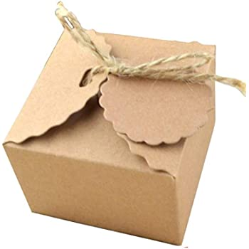 Caja de regalo de papel Kraft Kraft con yute para regalo de boda Vintage Invitado Regalo Embalaje (modelo 2, 50 pieza): Amazon.es: Hogar