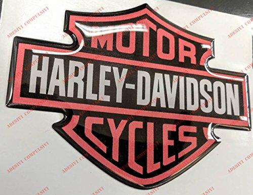 Escudo logotipo Harley Davidson, logotipo clásico, naranja, adhesivo resinado, efecto 3D, para depósito o casco