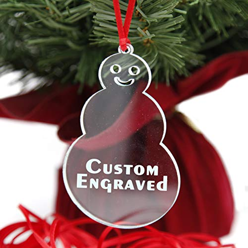 LHS Engraving | Personalized Christmas Ornaments for 2020 | Best Xmas Gifts for Newlyweds, Babies First, Weddings, Couples, Custom Engraved Snowman Keepsake Clear Acrylic | No Pattern