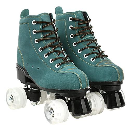 XJBHD Patines para Mujer, Color Verde, 4 Ruedas, para Adultos, Hombre, Mujer, Deportes al Aire Libre, Zapatos de Patinaje con Cordones Adecuados para Todas Las Edades, Exteriores/Interiores