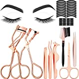 48 Pieces Eyelash Curler Makeup Tools Set, include Mini Eyelash Curler Kit, Eyebrow and Eyelash Extension Tweezers, Eyelash Eyebrow Brush Comb and Eyelashes Scissors, Silicone Refill Pads (Rose Gold)