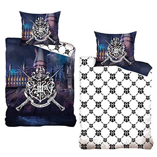 MTOnlinehandel Harry Potter Bettwäsche Bettbezug 135x200 80x80 Baumwolle · Kinderbettwäsche für Mädchen und Jungen · Hogwarts Schule Schloss · 1 Kissenbezug 80x80 + 1 Bettbezug 135x200 cm