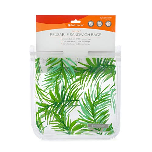Full Circle ZipTuck Reusable Plastic Food and Storage Bag, Sandwich Set of 2, Palm Leaves