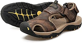 Wonvatu Mens Sport Sandals Outdoor Hiking Leather Sandal Fisherman Beach Casual Shoes Strap Water Sandals