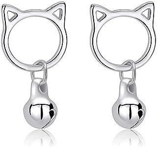 Belons Pendientes de gato para niñas de plata de ley 925 con forma de gato y campana, pendientes de gato y campana, pendie...