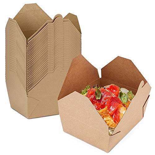 Pappschachtel rechteckig, Einweg to Go Boxen, Speise Box Take Away, Bio Speisebox mit Faltdeckel, braune Kraftkarton Schachtel kompostierbar, Einwegschachteln Kraftkarton Food Boxen,100Stück,1480ml