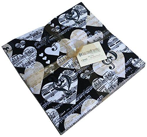 Benartex THE MUSIC IN ME 10-inch Precut Squares Cotton Fabric Quilting Assortment Layer Cake