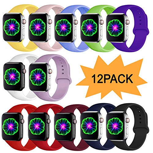 CHGUS Compatible with Watch Band 38mm 42mm 40mm 44mm for Women Men, Soft Silicone Sport Replacement Bands for iWatch Series 5/4/3/2/1, S/M, M/L