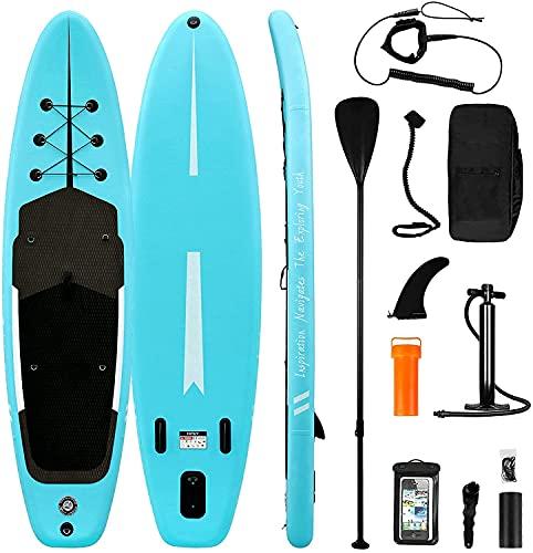 Tabla de Paddle Surf Hinchable Sup Inflatable Stand up Paddle Board PVC con Bomba de Doble, Remo Ajustable, Caja de reparación, alerón, Bolsa de Transporte (RY-312)