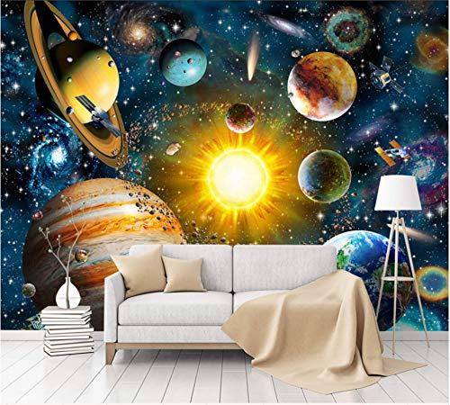 WH-PORP 3D Weltraum-Universum 3D Cartoon Tapete Wandbild Für Baby Kind Zimmer 3D Cartoon Wandbild 3D Wall Decor-200Cmx140Cm