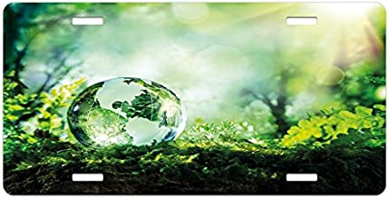 Ambesonne World License Plate, Globe on Fresh Green Grass Morning in Forest Natural Reflection Environment Ecology, High Gloss Aluminum Novelty Plate, 5.88 L X 11.88 W Inches, Green Yellow