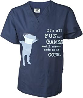 Dog is Good Unisex It's All Fun and Games Scrub Tops - Great Gift for Dog Lovers