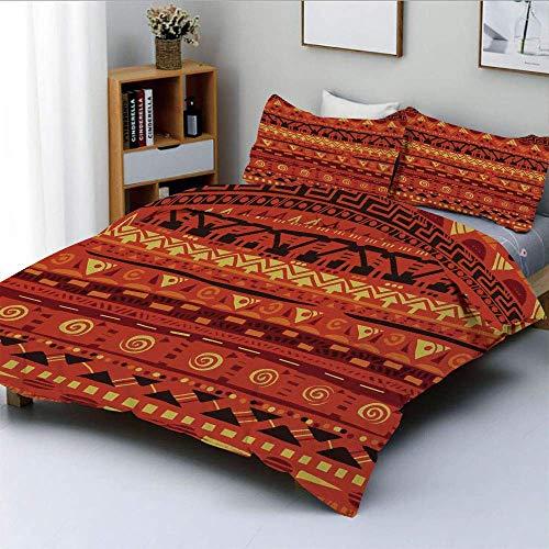Juego de funda nórdica, motivos folclóricos africanos antiguos, adornos de arte tribal primitivo, ilustración, juego de cama decorativo de 3 piezas con 2 fundas de almohada, amarillo anaranjado, el me