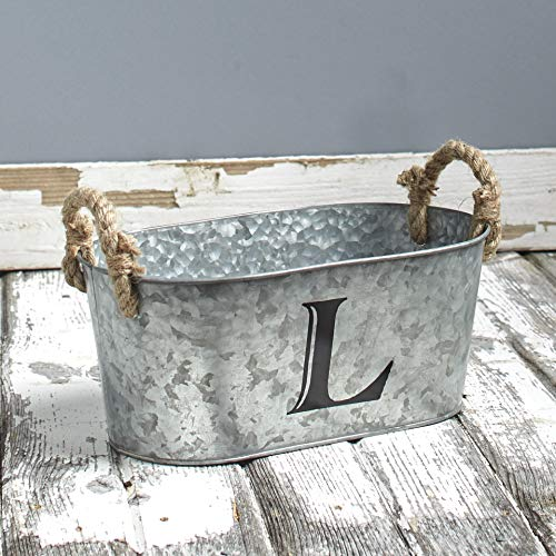 The Lakeside Collection Galvanized Metal Monogram Bucket - Rustic Storage Bin with Rope Handles - L