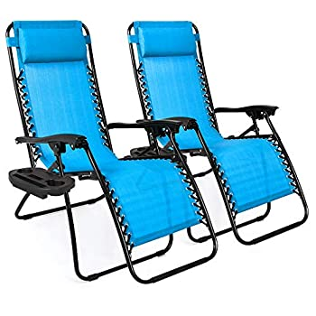 Best Choice Products Set of 2 Adjustable Steel Mesh Zero Gravity Lounge Chair Recliners w/Pillows and Cup Holder Trays Light Blue