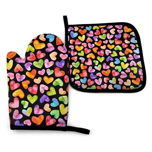 Eybfrre - Juego de guantes de horno y soporte para ollas, diseño de corazones de acuarela, impermeable, resistente al calor