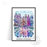 Cartel de viaje de la ciudad mundial, cartel de paisaje de edificios de Alemania, arte de pared de Holanda Amsterdam, decoración artística impresa de España Barcelona(LT-1116) 40x60cm Sin marco