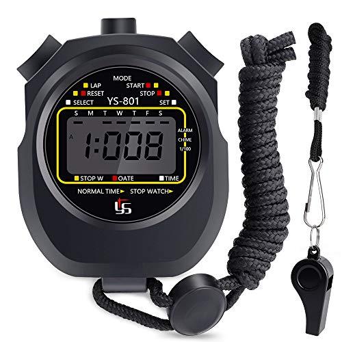 Cronometro Sportivo con Fischio, HICOO Impermeabile Grande Schermo Digitale Cronometro per Fitness, Corsa, Allenamento Basket