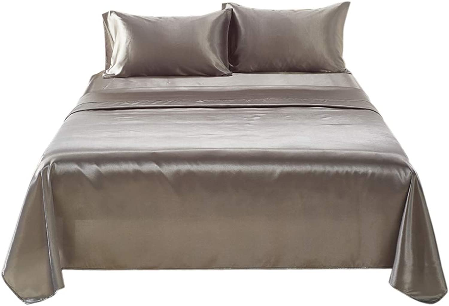 D DOLITY Hotel Luxury Bedding Sheet Set (Fitted, Flat, Pillow Case) - 3 Size for Choice - No Pilling & Softness - Grey, Queen (4 Piece)
