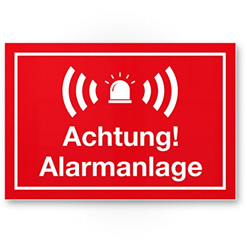 Achtung Alarmanlage Kunststoff Schild (rot 30 x 20 cm) - Achtung/Vorsicht Alarmgesichert - Hinweis/Hinweisschild Alarm - Haus/Gebäude/Objekt