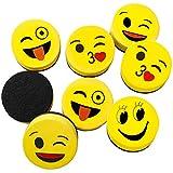 Borradors Magnetico de Pizarra Blanca, Niños Smiley Emoji Tablero de Borrado en Seco Erasers, Mini Limpiadores de Espuma 5 cm para la Oficina, el Hogar y Las Aulas (16pcs)