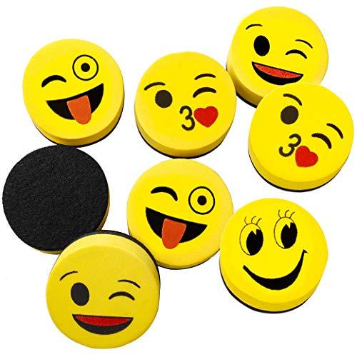Cancellino per Lavagna Magnetica Bianca per Bambini 16 Pezzi, Smiley Emoji Cancellini Magnetici, Lavagne Mini Schiuma Gomma più pulita per Cancellare Pennarelli a Secco Ufficio 5cm
