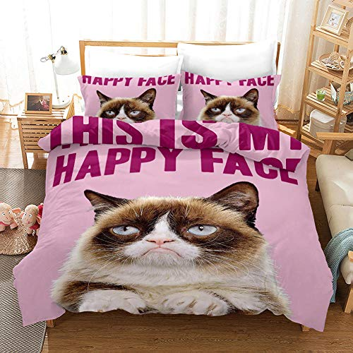 Qingxsm Duvet Cover Double Bed 200 x 200 cm Bedding set by Ultra Soft Hypoallergenic Microfiber with 2 Pillowcases 50 x 75 cm with Zipper Cat printing Duvet Cover set