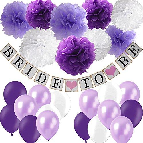 Purple Bridal Shower Decorations Set- Bride To Be Banner White Lavender Purple Big Size Tissue Paper Flower Pom Poms Latex Balloons for Lavender Purple Wedding Party Decor/Bachelorette Party