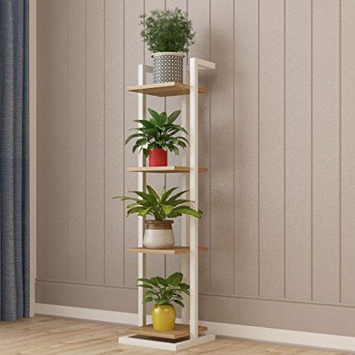 FL- Salon en bois bois fleur Stand Art fer étroit multicouche intérieur succulentes Multifonction vert radis étagères chambre cadre décoratif atterrissage (Couleur : White(c), taille : 4-layer)